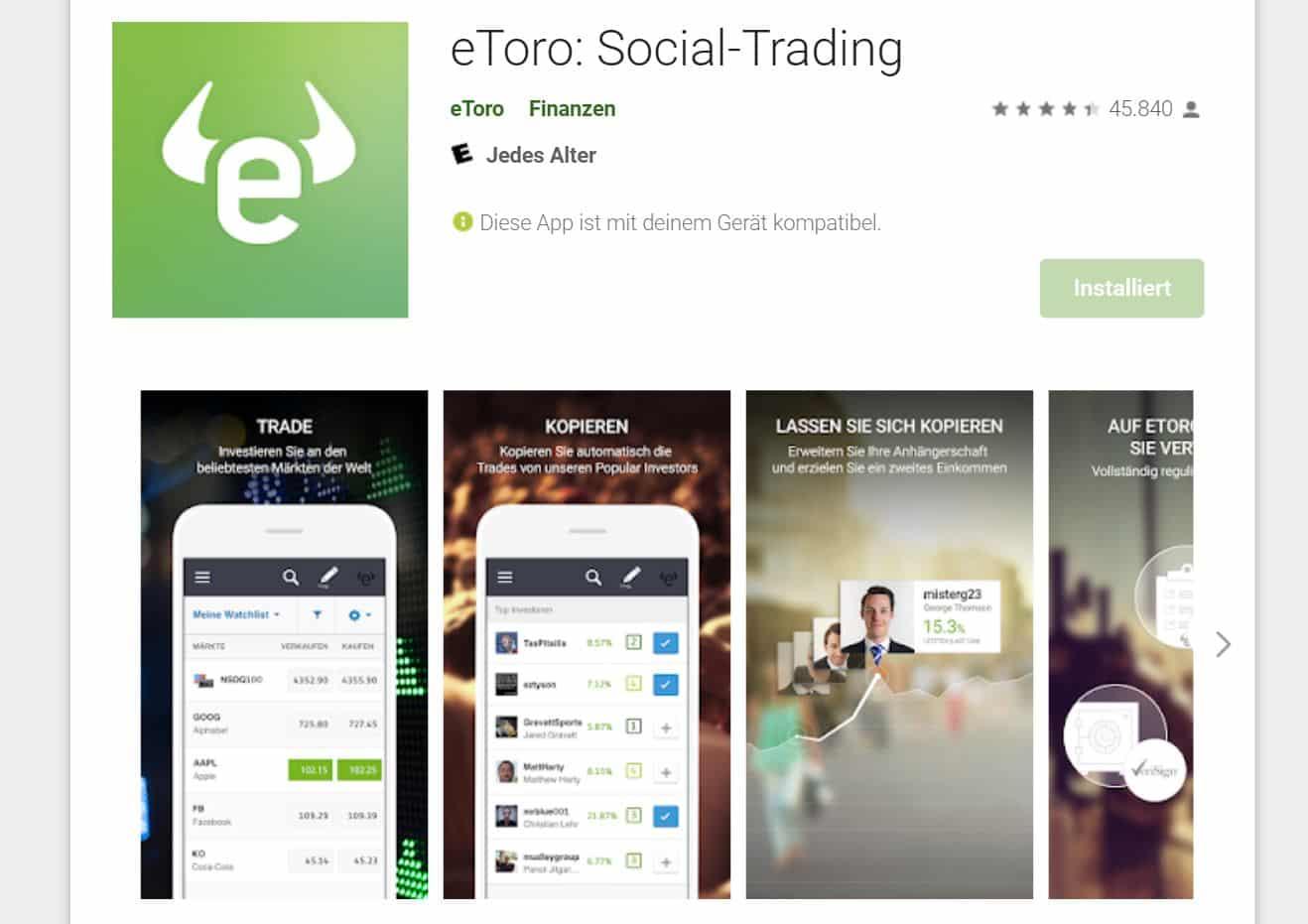 eToro Social Trading über App
