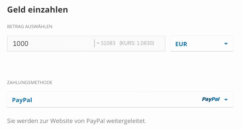 Die Einzahlung funktioniert bei eToro unter anderem mit Paypal