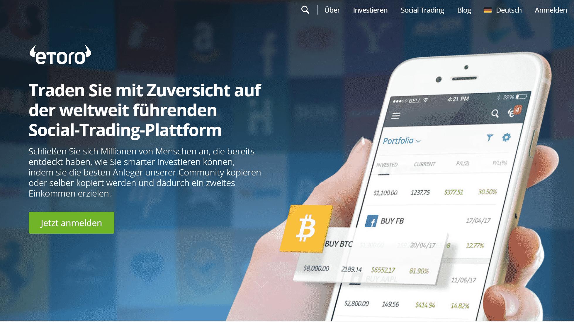 eToro Copytrader Test geht auch mobil mit App