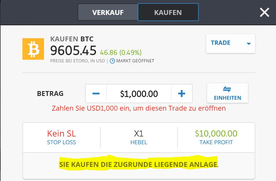 Bitcoin bei eToro gibt es als Tokens oder CFDs
