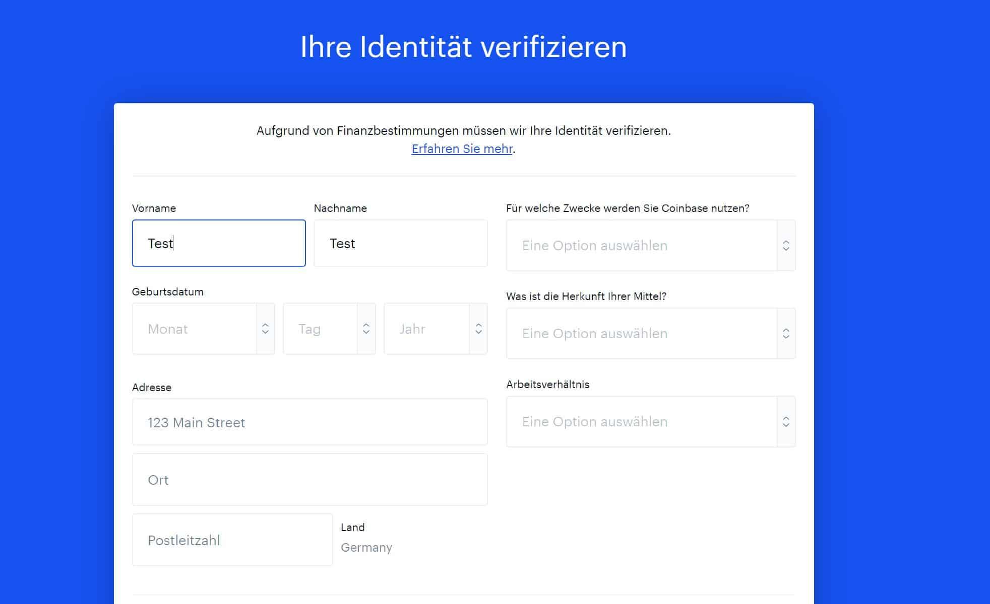 Coinbase Identität verifzieren
