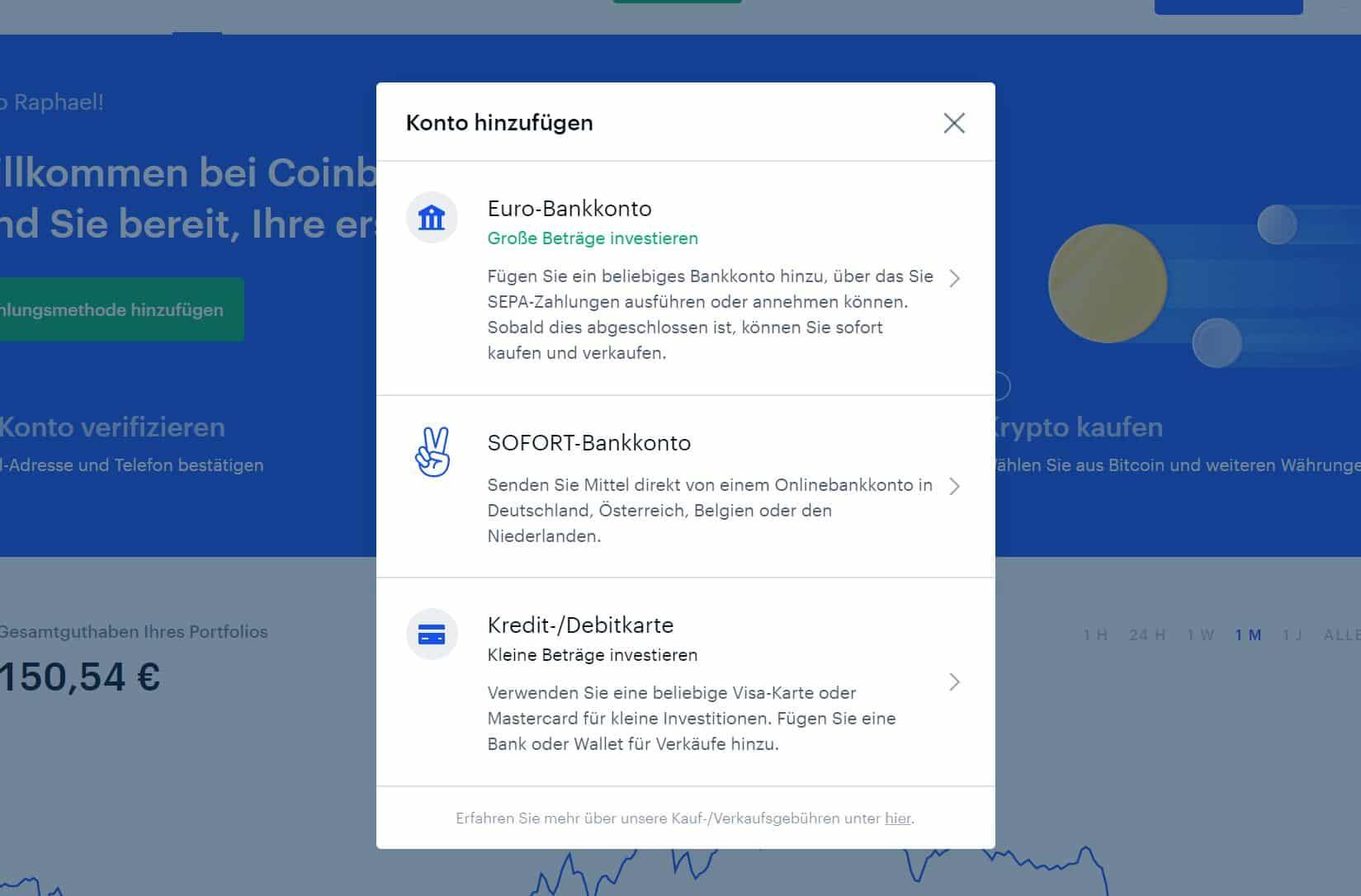 Die Coinbase Erfahrung ist mit verschiedenen Zahlformen möglich