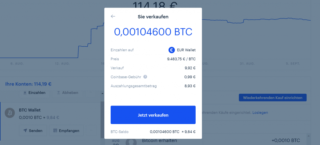 CoinBase-Gebuhr, um Bitcoin in USD umzuwandeln