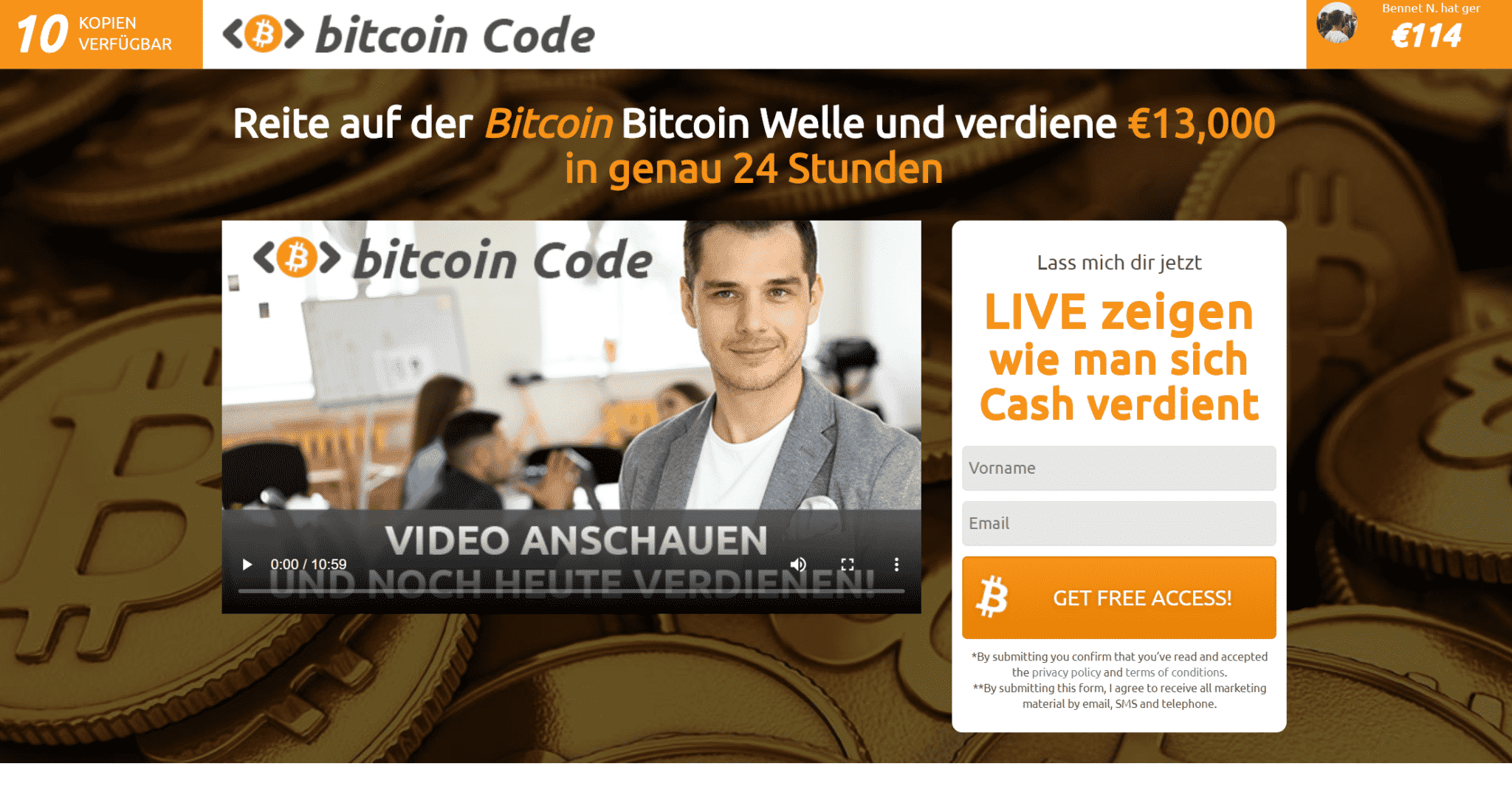 Bitcoin Code Auszahlung