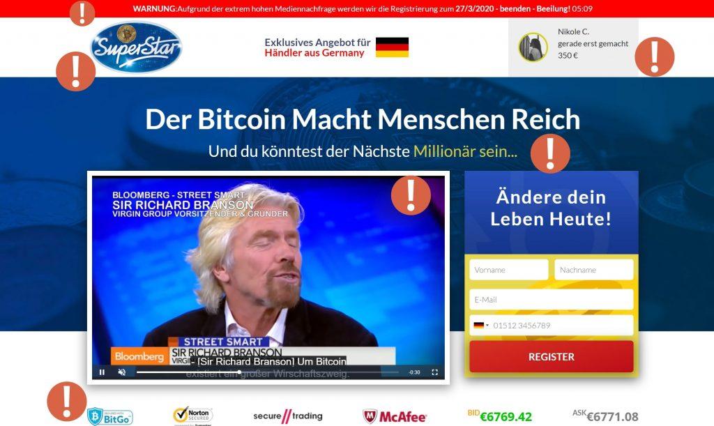 Wir warnen in der Review vor dem Bitcoin Superstar Betrug