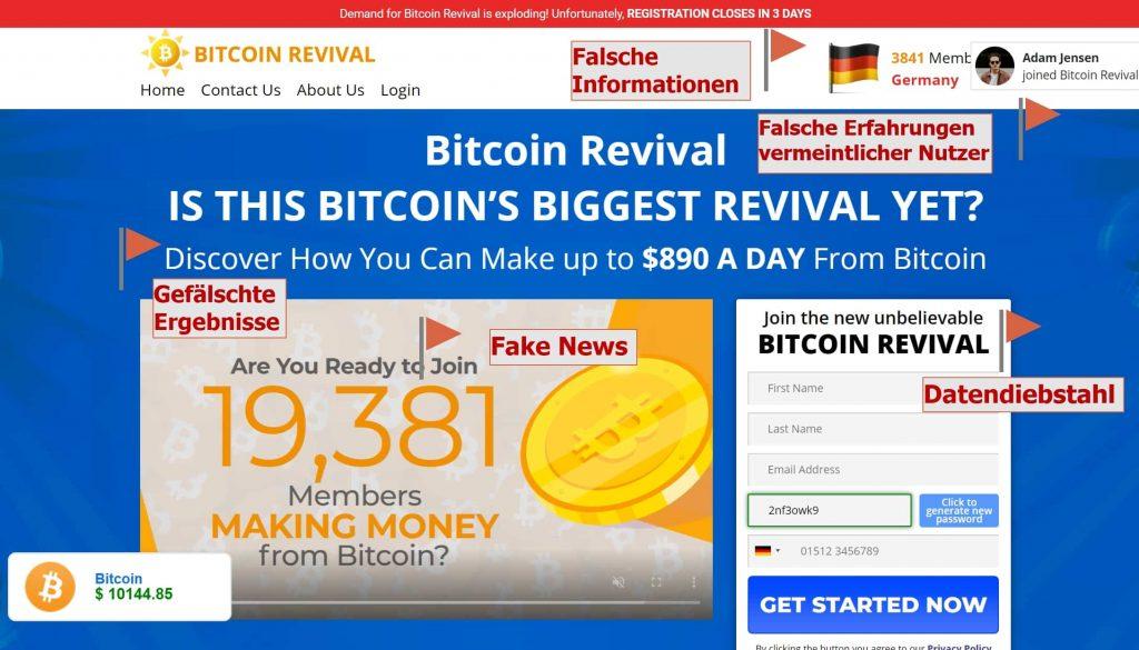 Bitcoin Revival Betrug: Review & Testurteil: Vorsicht! Erfahrungen & Preisvergleich