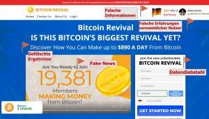 Der Bitcoin Revival Betrug zeigt sich anhand vieler Merkmale