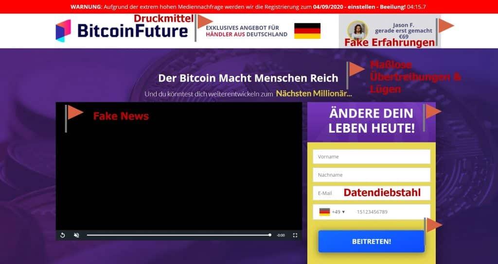 Der Bitcoin Future Fake und unsere Erfahrungen